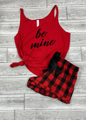 Valentines outfit for husband, Buffalo plaid shorts, Valentines day outfit for boyfriend, Cute Valentines pajamas, Be Mine Tank,