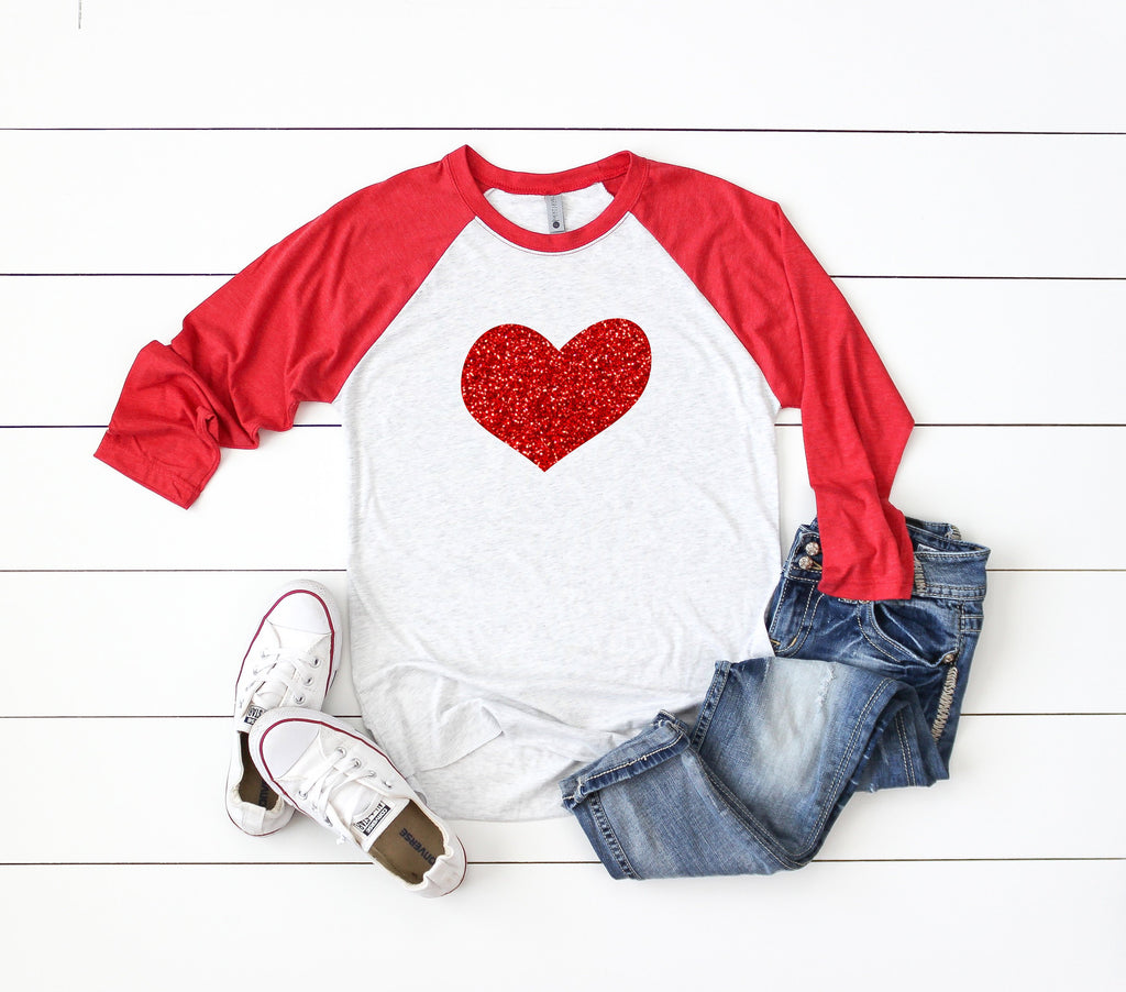 Cute Valentines day shirt, Glitter heart shirt, baseball shirt, Holiday glitter shirt, Women's Valentines shirt,Women's valentines day shirt