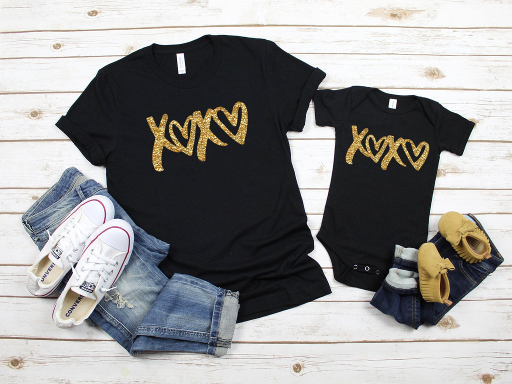 Mommy and me outfit - Valentine's shirt - Xoxo shirt - Mom and daughter shirt - Glitter shirt for mom and daughter - Cute matching shirts-