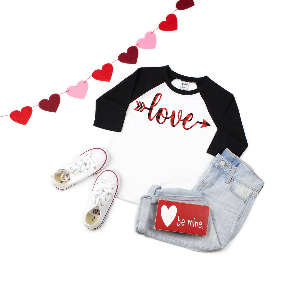 Valentines Buffalo plaid shirt, Xoxo top, Kids baseball shirt, Valentines day outfit, Cute V-day outfit, Children's Holiday top, love shirt