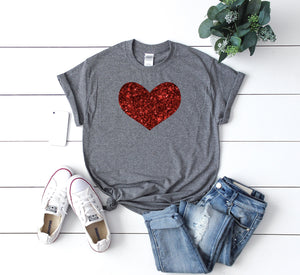 Women's valentines day shirt, Cute Valentines day shirt, Glitter heart shirt