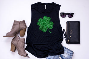 Glitter tank - Saint Patrick's day tank - Shamrock tank- Women's Saint Patrick's day tank - Women's St Patty's day - St Patty's Day Outfit
