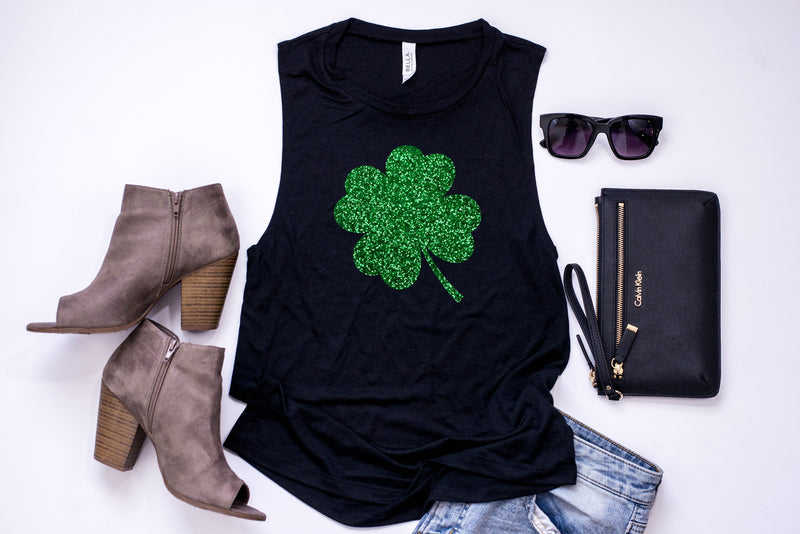 Glitter shamrock tank - St. Patrick's day tank - Women's St. Patrick's day tank - Women's St Patty's day - Saint Patty's Day Outfit