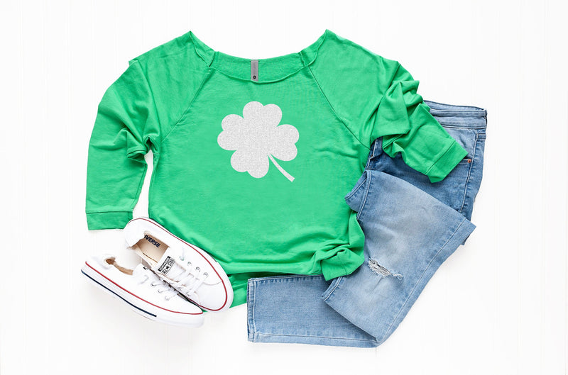 Glitter Shamrock Sweatshirt, Saint Patty's Sweatshirt, Holiday celebration Top, Women's Saint Patrick' s Outfit
