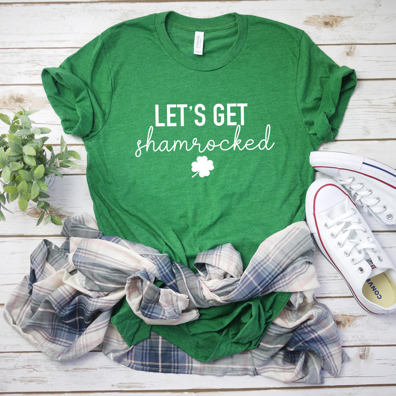 St Patty's drinking shirt-Lets get shamrocked t-shirt - funny saint Patty's day shirt -   Women's St. Patricks Day top -Men's St Patty's day