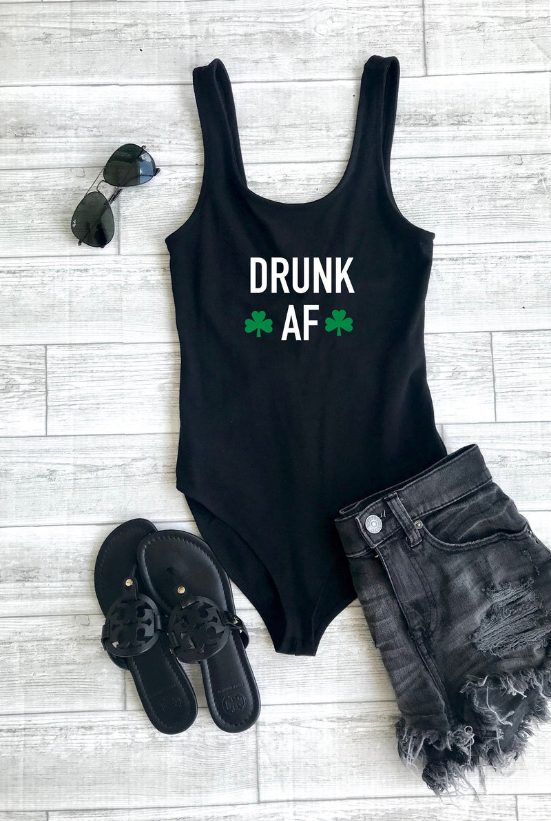 drunk af bodysuit, st. patricks day body suit, shamrock body suit, drinking bodysuit