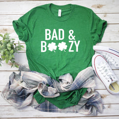 Women's St Patty's Day Shirt - Bad and boozy shirt - Funny drinking shirt -  St. Patricks day shirt - Women's st. Patrick's day shirt -