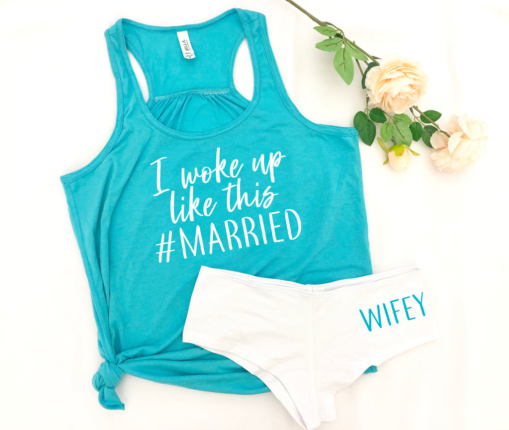 I woke up like this married set, wifey pajama set, honeymoon outfit, wifey shorts, just married outfit, wedding night pajamas, bridal pjs
