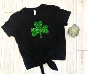Women's Shamrock shirt, St Patricks day top, glitter shamrock shirt, St. pattys day outfit
