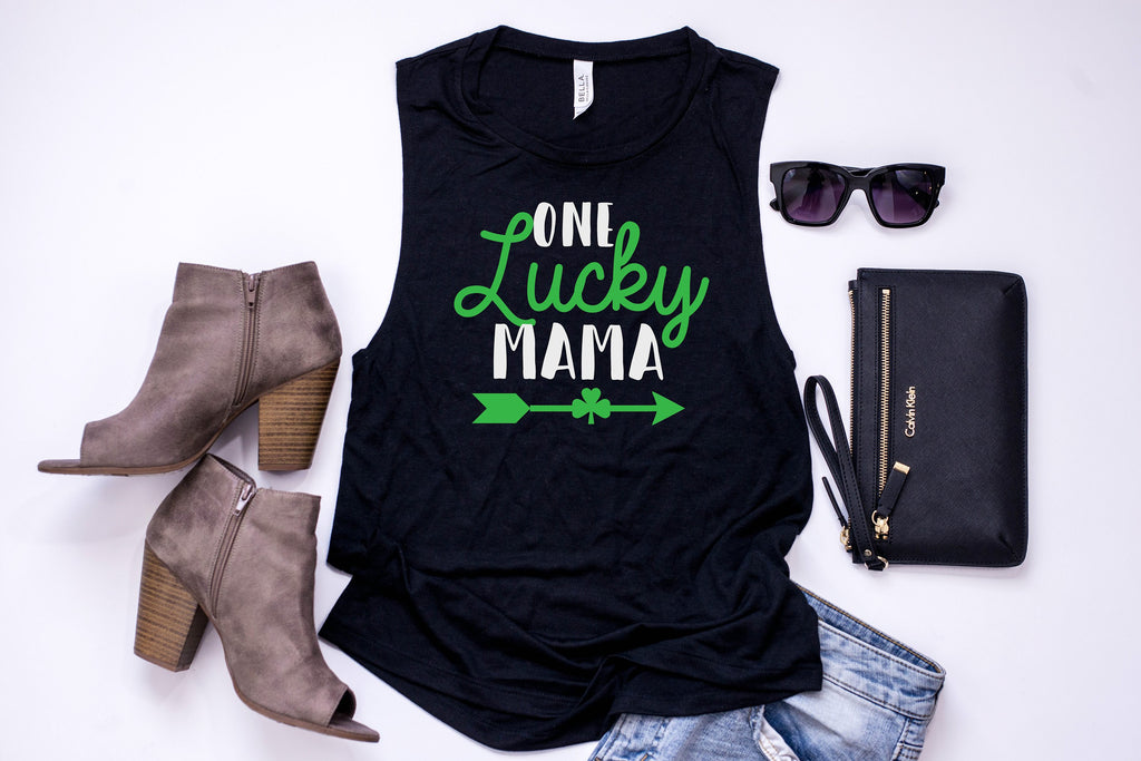 Mom Saint Patrick's day shirt- One lucky mama -  Women's Saint Patrick's day tank -  Women's St Patty's day - Saint Patty's Day Outfit