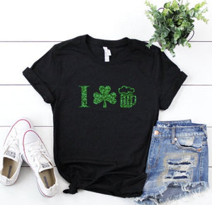 I love beer shirt - Green beer shirt - I shamrock beer shirt - St Patrick's day Top - beer shirt - glitter shamrock tee