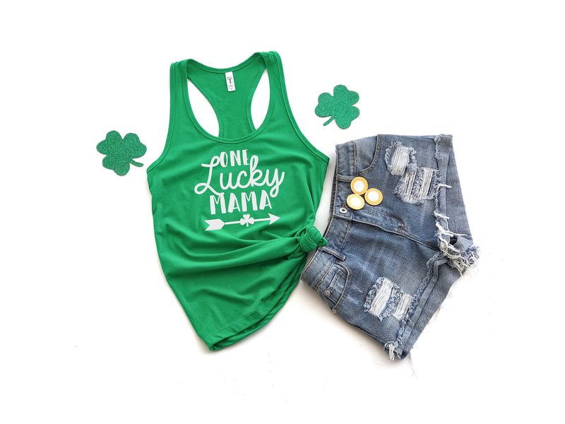 Mom's first Saint Patty's day - One lucky Mama tank - St. Patricks day shirt - Women's St. Patricks day top- Gift for Mom -