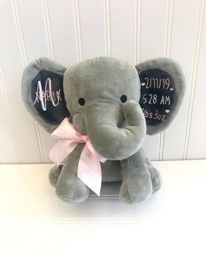 birth announcement elephant - keepsake elephant - baby keepsake - birth stat elephant - baby gift - personalized elephant - baby shower