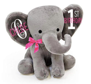 1st birthday gift, personalized birthday gift, birthday stuffed animal, birthday keepsake, birthday stuffed elephant, 1st bday gift