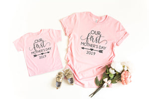 Our first mothers day, First mothers day gift, mom and daughter shirts, family picture shirts, mothers day gift for wife