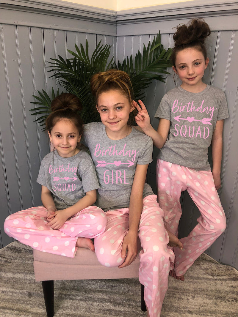slumber party favors, teen bday shirt, birthday squad, personalized teenager pajama set, cute tween pajama set, slumber party pajamas