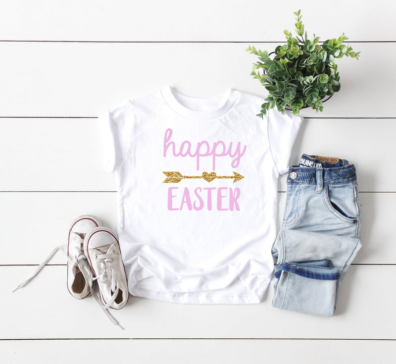 kids easter shirt - happy easter shirt - glitter easter shirt - baby easter shirt - cute easter shirt kids - toddler easter shirt