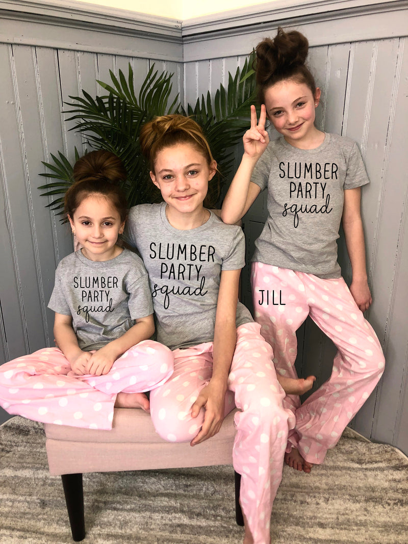 slumber birthday party, sleepover squad, teen bday shirt, birthday squad, personalized teenager pjs, cute tween pajama set,slumber party pjs