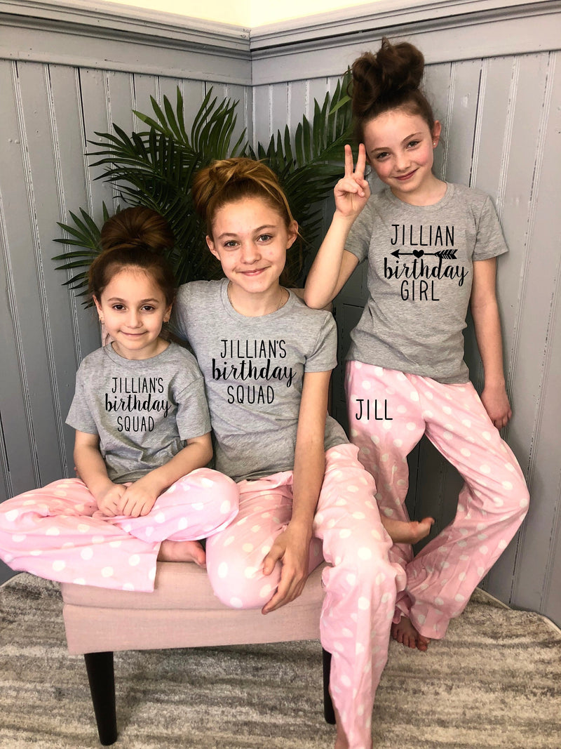 teen bday shirt, teen birthday shirt, sleepover squad, birthday squad, personalized teenager pjs, cute tween pajama set,slumber party pjs