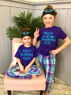 teen birthday shirts, birthday party shirts, teen bday shirt, birthday squad, personalized teenager pjs, sleepover squad pjs, slumber party