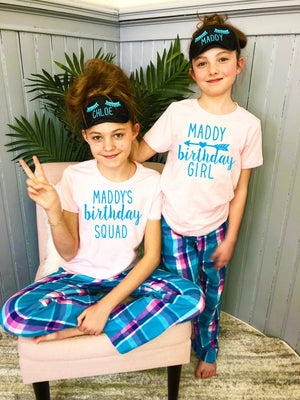 Personalized birthday shirts, birthday girl shirt, birthday squad, slumber party theme birthday, plaid pajama bottoms for kids,
