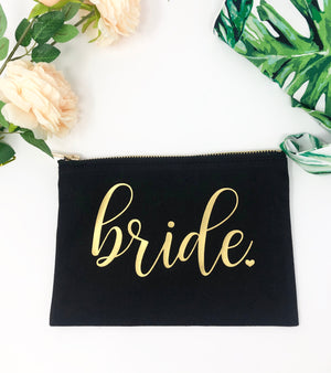 Cute gift for bride, makeup bag for bride, gift for wedding, gift from maid of honor, gift from bridesmaid