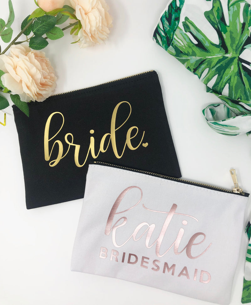Bride makeup bag, bridesmaid makeup bag, personalized gift for bridesmaid, Gift for bride, bachelorette party gift ideas