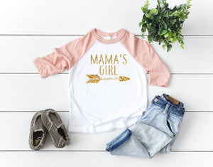 mamas girl shirt, mamas girl tee, girls glitter shirt,  newborn girl shirt, mommy and me shirts, gift idea for mom, matching tees