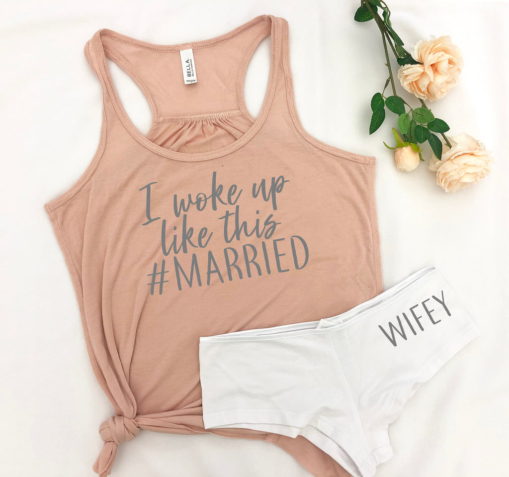 I woke up like this shirt, honeymoon gift, honey moon outfit, future mrs tank, wedding gift, bridal shower gift set, bride sleep set