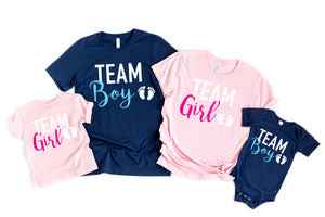 gender reveal shirts - team girl shirts - team boy shirts- reveal party shirts - announcement shirts - gender reveal idea - family reveal
