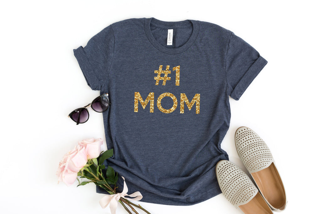 Best Mom t-shirt, Cute mom shirt, Woman's top, Number one mom, gift for mothers day, gift for wife, gift from children, glitter top