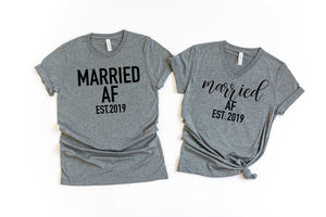 married AF shirts - wifey hubby shirts - honeymoon shirts - wifey t-shirt set - couples shirts - bride shirts -  groom shirts - bridal gift