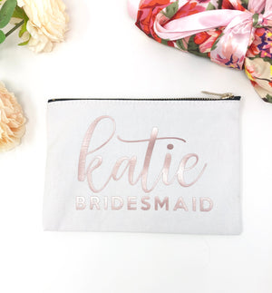 bridal party gift, personalized makeup bag, makeup bag, custom cosmetic bag, bachelorette party, bridesmaid gift, maid of honor gift