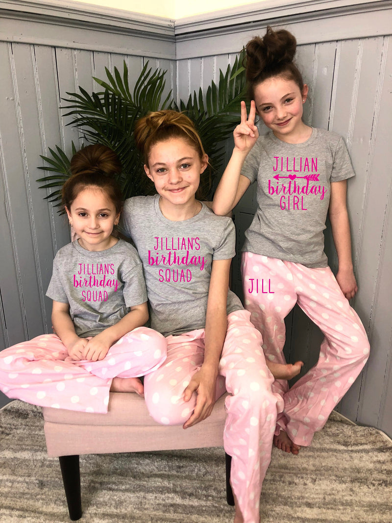 teen birthday shirt, sleepover squad, teen bday shirt, birthday squad, personalized teenager pjs, cute tween pajama set,slumber party pjs
