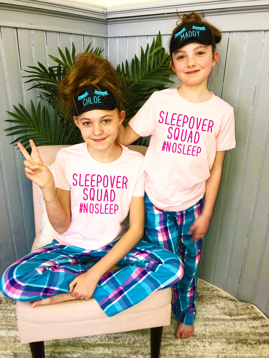 personalized eye masks, sleepover squad, kids pajamas, matching sister pajamas, sleepover squad shirts, pajamas for slumber party