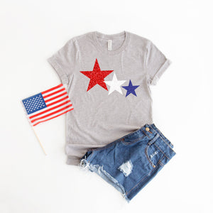 glitter star shirt, 4th of July womens shirt, red white and blue shirt, Glitter 4th of July shirt, patriotic shirt, 4th of July tee