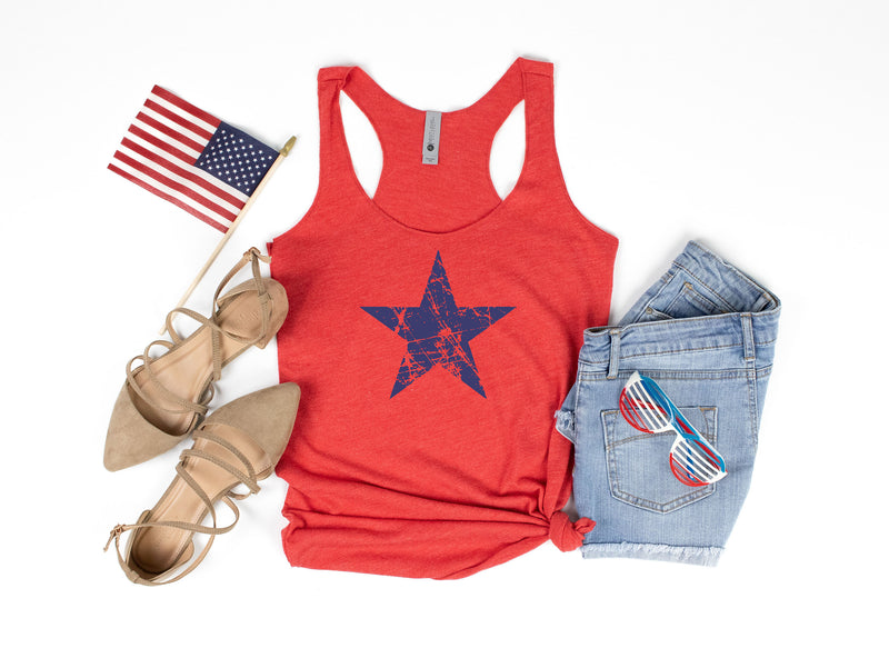 distressed star tank - patriotic tank - usa tank - 4th of july tank - women 4th of july shirt - 4th of july shirt women - red white and blue