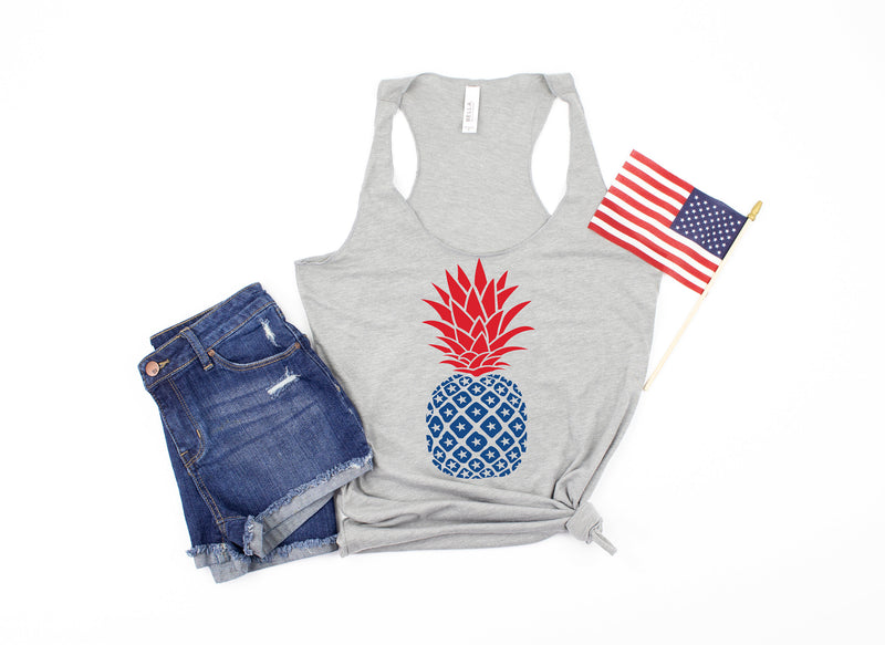 4th of july pineapple tank - star shirt - 4th of july tank -  womens 4th of july shirt - 4th of july shirt women - fourth of july tank