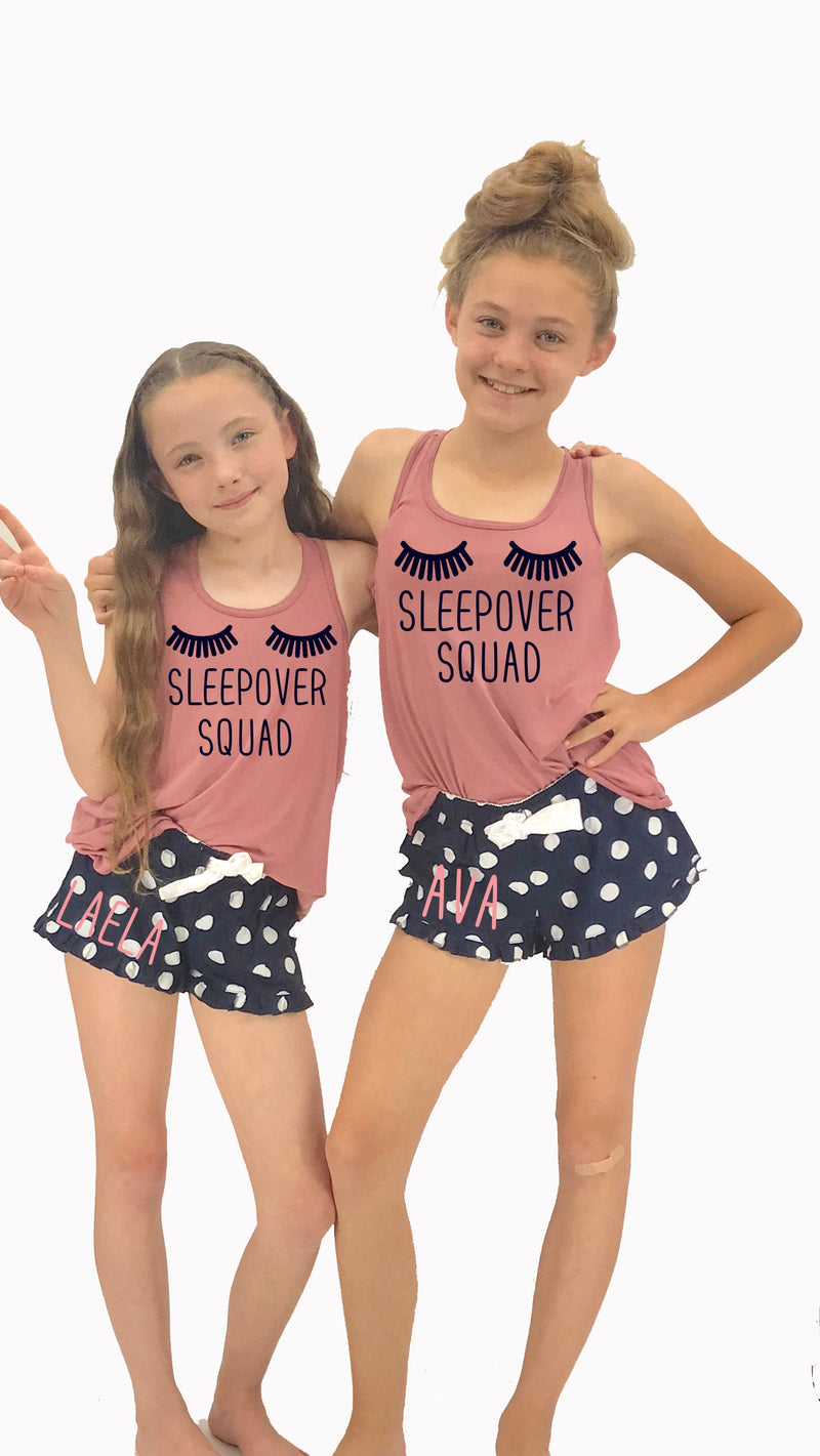 slumber party favor, slumber birthday party, teen bday shirt, birthday squad, personalized teenager pjs, cute tween pajama set, sleep pjs