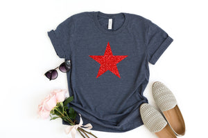 Womens 4th of july shirt, fourth of july shirt, 4th of july shirt, 4th glitter shirt, star shirt, patriotic shirt, glitter star shirt