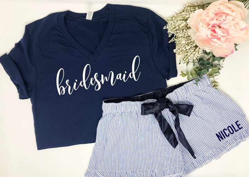 Personalized bridesmaid gift, Custom bridesmaid pajamas, Bride tribe, cute wedding party pajamas, bridesmaid pajamas, bridal party gift