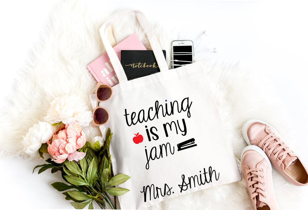 custom teacher tote, teaching is my jam, teacher tote, gift for teacher, end of year school gift for teacher, thank you teacher gift