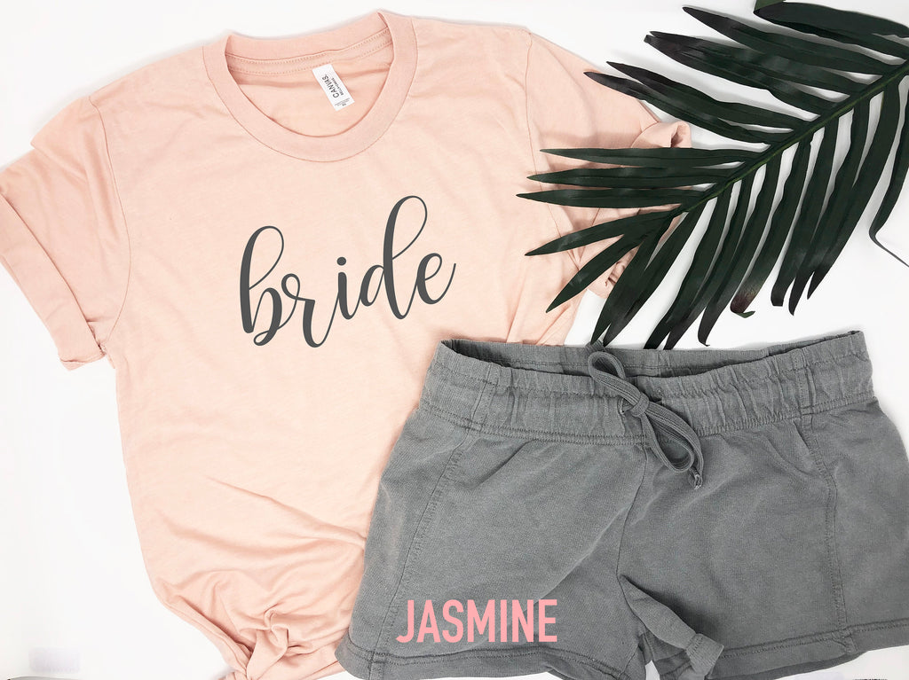 gift for bride, shirts for bachelorette party, custom bride gift, matching bridal party shirts, bride sleepwear, cute bride shirt