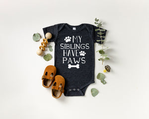 my siblings have paws shirt, funny baby shower gift, funny baby gift, cute baby shower gift, my siblings have paws, pregnancy announcement,