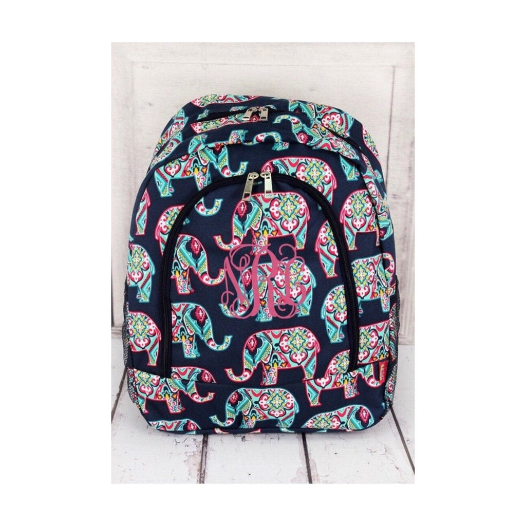 backpack for girls, girls backpack, monogram backpack, elephant backpack, kids backpack, personalized back pack, back to school