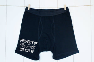 property of boxers, mens underwear, gift for husband, personalized mens underwear, mens boxers, husband gift, honeymoon outfit for husband