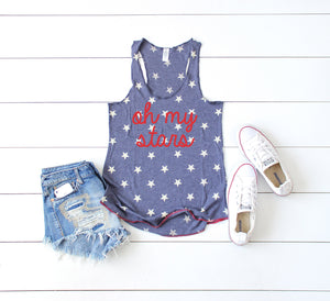 oh my stars, 4th of july womens, fourth of july shirt, 4th of july shirt, patriotic shirt, usa tank, star tank, womens 4th of july shirt