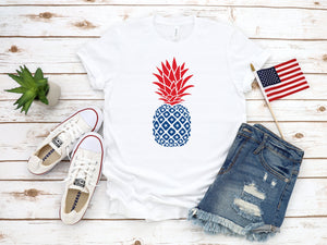 4th of july pineapple shirt, memorial day shirt, fourth of july shirt, 4th of july shirt, patriotic shirt, red white and blue shirt