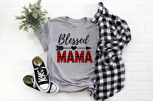 buffalo plaid tee - buffalo plaid blessed mama shirt - buffalo plaid blessed shirt - mom gift - gift for her - blessed mama tee - gift idea