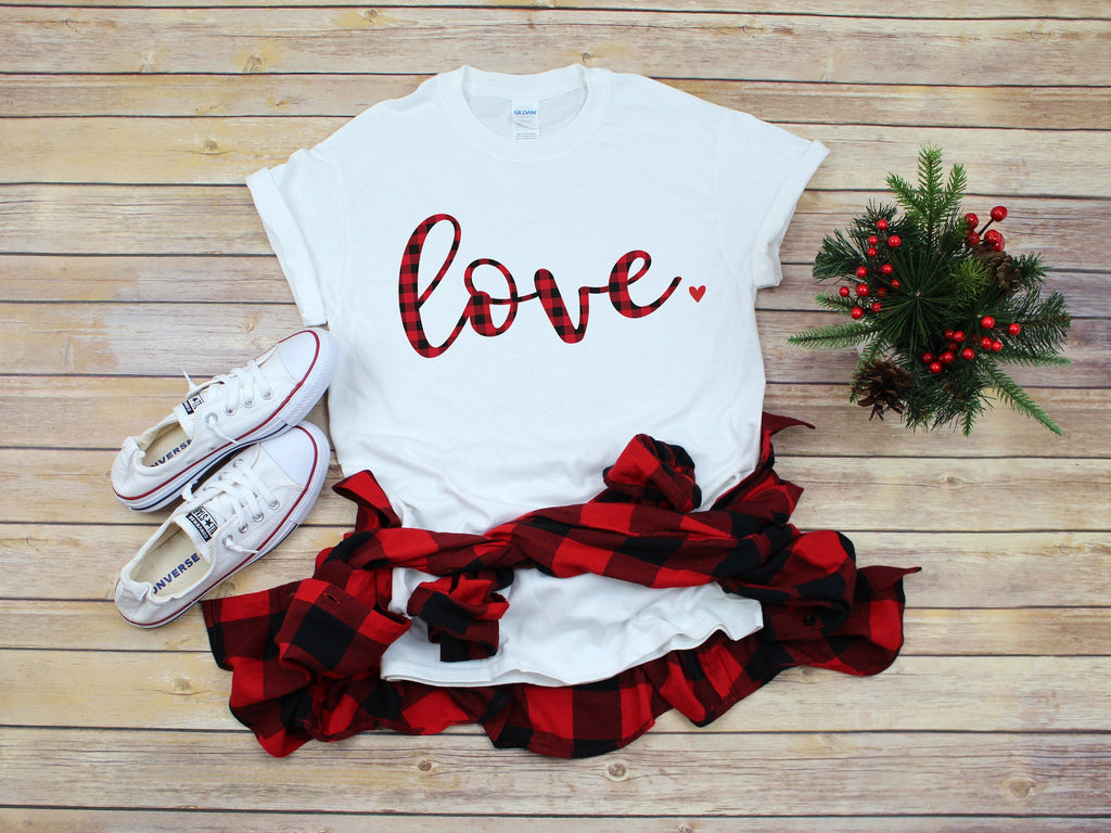 Buffalo plaid Valentines day shirt- Love shirt- Shirt for valentines day- Valentines day outfit- Valentines day shirt- Cute Valentine top-